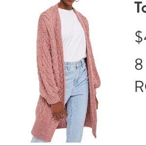 TopShop open front pink cardigan